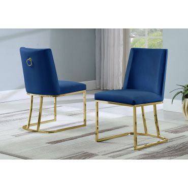 Brooke Navy Dining Chair Gold Frame