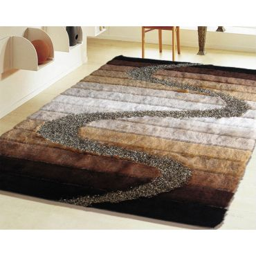 Brown and Silver Modern Shag Rug Design 10