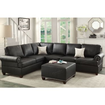 Byron Classic Black Leather Sectional
