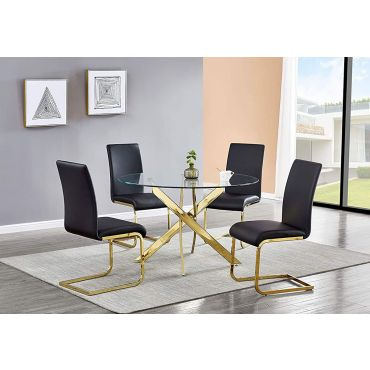 Cady Gold Round Dining Table Set