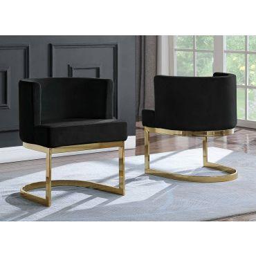 Caffrey Black Velvet Dining Chair Gold Base