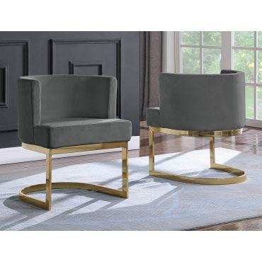 Caffrey Grey Velvet Dining Chair Gold Base