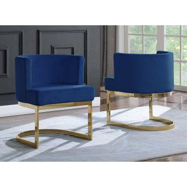 Caffrey Navy Blue Velvet Dining Chair Gold Base