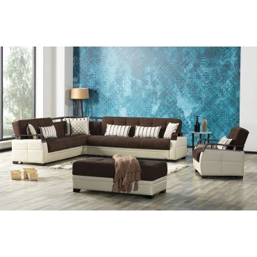 Calby Lane Chocolate Sectional With Bed