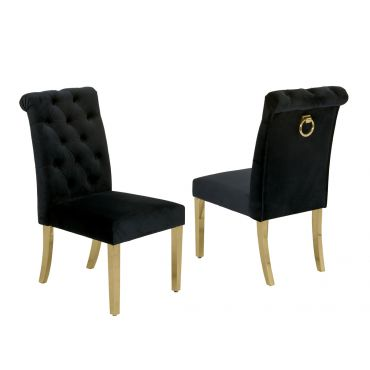 Cambria Black Velvet Dining Chair With Gold
