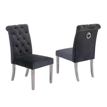 Cambria Grey Velvet Dining Chairs Chrome