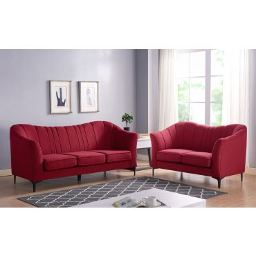 Cameley Red Linen Sofa