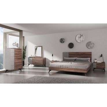 Capri Faux Concrete Rustic Walnut Bedroom Set