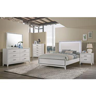 Cara Bed With LED Light White Finish