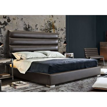 Carla Grey Leather Modern Bed