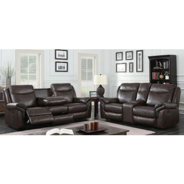 Carson Brown Leather Recliner Sofa