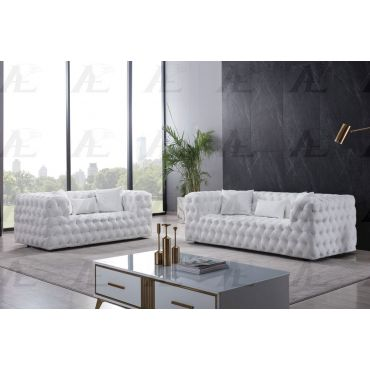 Cosima Deep Tufted White Leather Sofa