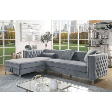 Caswell Grey Velvet Sectional Crystal Tufted