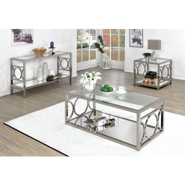 Cathy Modern Coffee Table Mirrored Shelf