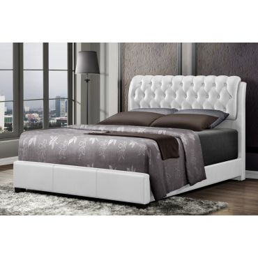 Viola White Leather Button Tufted Bed