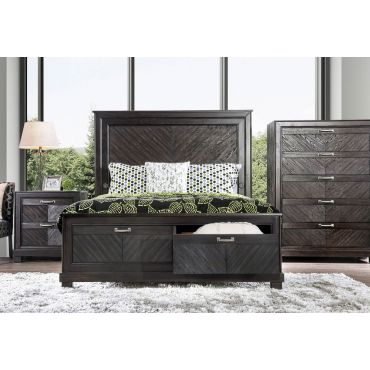 Celine Transitional Style Storage Bed