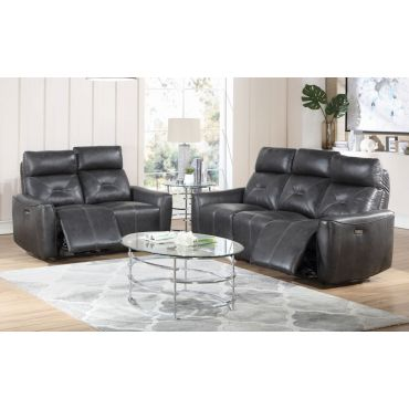 Celvet Genuine Leather Power Recliner Sofa