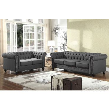 Charleston Chesterfield Sofa Charcoal Linen