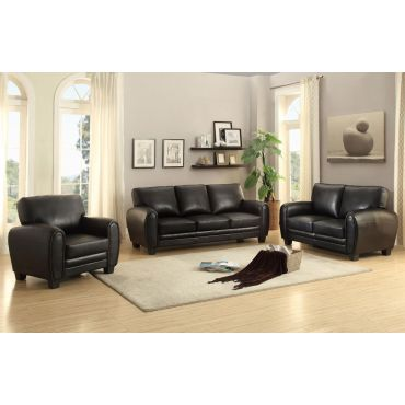 Charley Black Leather Sofa