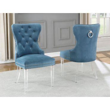Charlotte Teal Velvet Chair Acrylic Legs