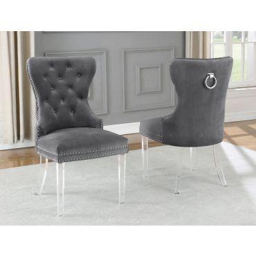 Charlotte Grey Velvet Chair Acrylic Legs