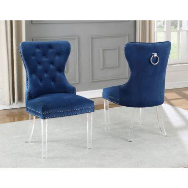 Charlotte Navy Velvet Chair Acrylic Legs (Set of 2)