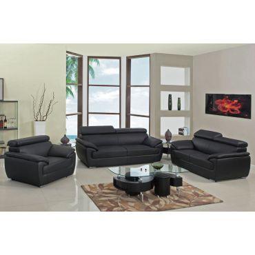 Chaska Black Leather Modern Sofa