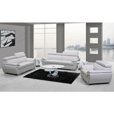 Chaska White Genuine Leather Living Room