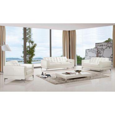 Chelsea White Italian Leather Modern Sofa