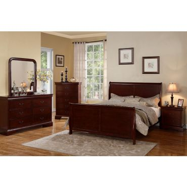 Cherry Finish Sleigh Bed 9231