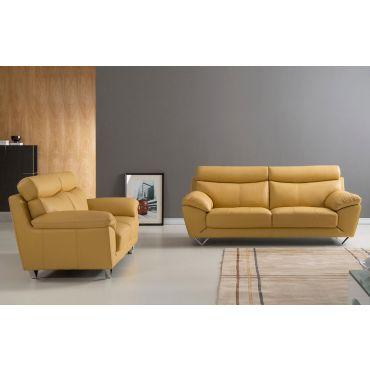 Chiang Yellow Italian Leather Sofa Set