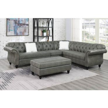 Chris Slate Grey Chesterfield Sectional