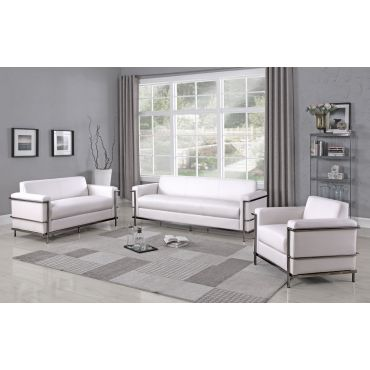 Citadel White Leather Sofa With Chrome Frame