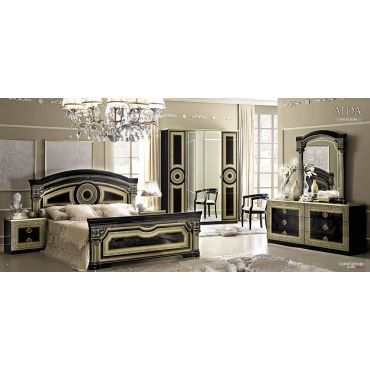 Aida Black Italian Bedroom Set