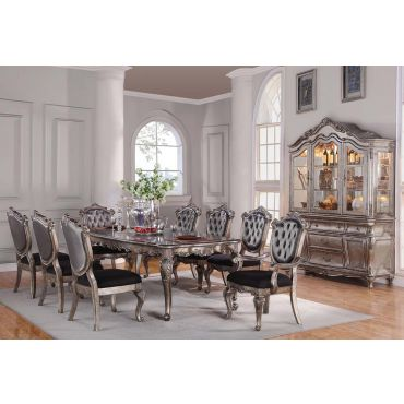 Bencivenni Antique Platinum Formal Dining Table Set