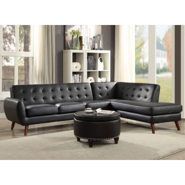 Cleto Tufted Black Leather Sectional
