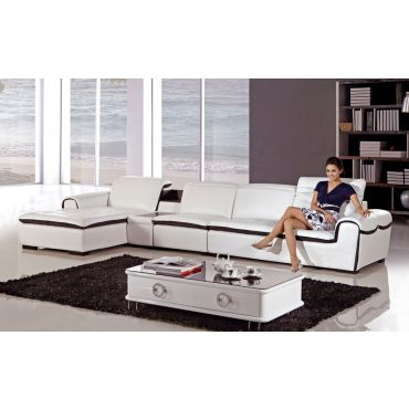 Cleto White Modern Motion Sectional
