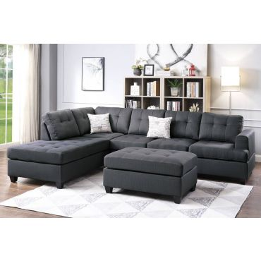 Clover Ash Black Linen Sectional Sofa Set