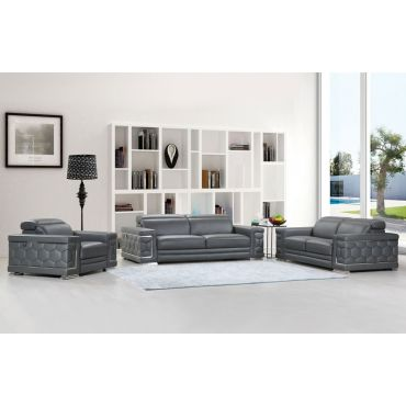 Clovis Gray Sofa With Adjustable Headrests