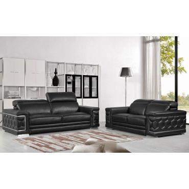 Clovis Black Leather Sofa