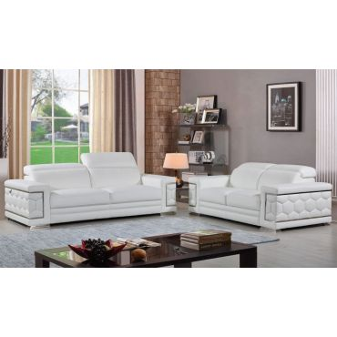 Clovis Living Room White Genuine Leather