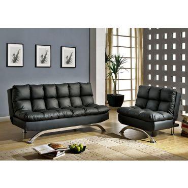 Aristo Black Leather Futon