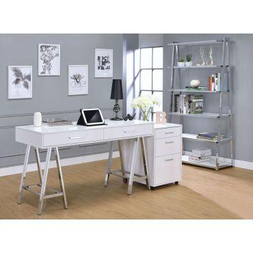 Coleen Office Desk White Lacquer Finish