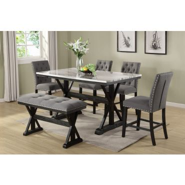 Coleville Faux Marble Counter Height Table Set