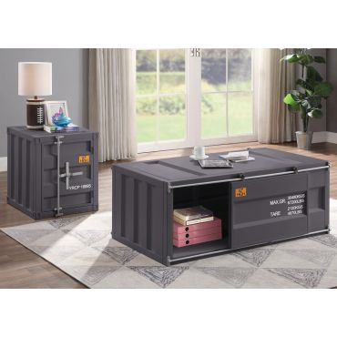 Container Gunmetal Finish Storage Coffee Table