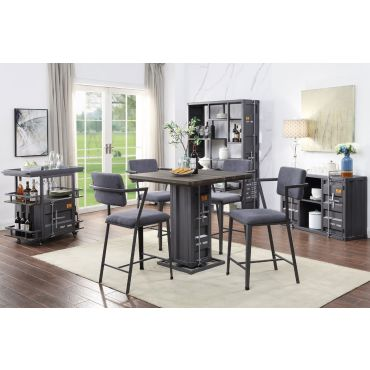 Container Pub Table Set Gunmetal Finish