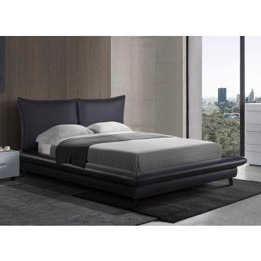 Corsi Black Leather Platform Bed