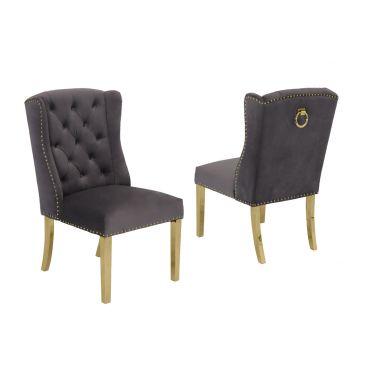 Curver Grey Velvet Chair Gold