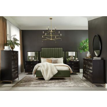 Dario Dark Green Velvet Bed Gold Accents
