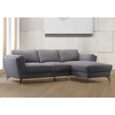 Davie Grey Linen Fabric Modern Sectional